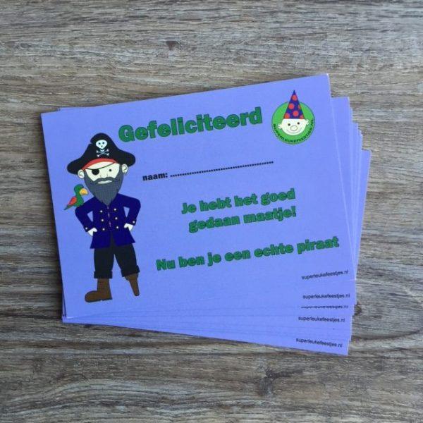 Diploma's van het piraten themafeest van Superleukefeestjes.