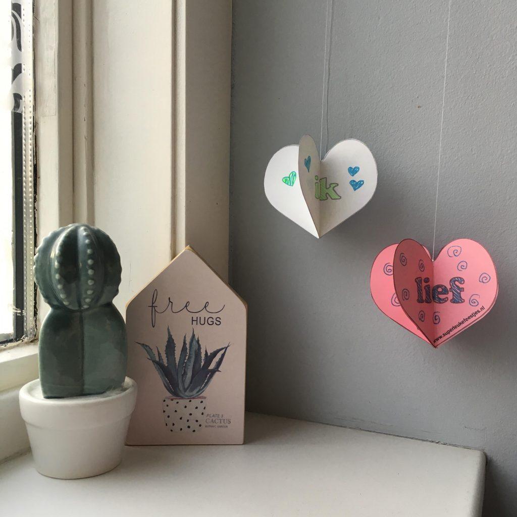 hartjes, valentijn, hanger, diy, knutsel, kinderen