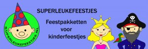 Superleukefeestjes, kinderfeestje, banner, themafeestje,