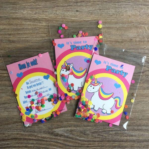 eenhoorn, kaartje, uitnodiging, kinderfeestje, thema eenhoorns,